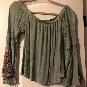 Green off the shoulder blouse